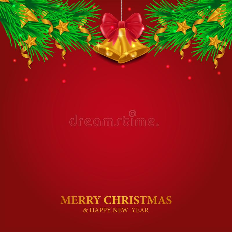 Merry christmas and happy new year greeting card template with illustration of fir garland decoration with golden bell and red. Background vector illustration