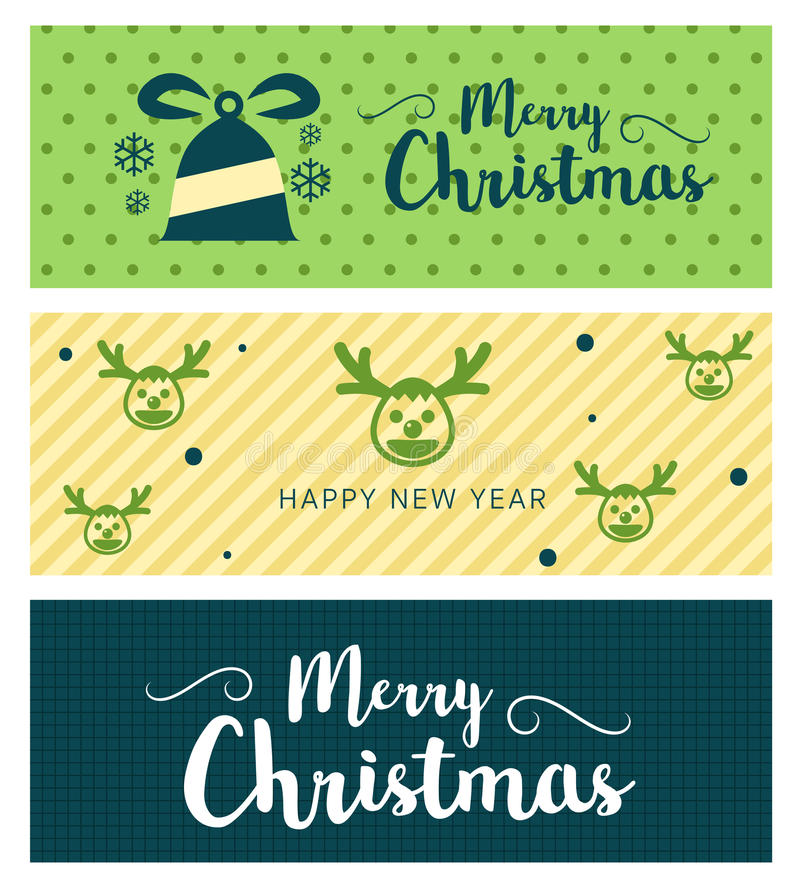 Merry Christmas and Happy New Year greeting card typography flyer template with lettering. Bright fall leaves. Poster, card, label, banner design set. Vector royalty free illustration