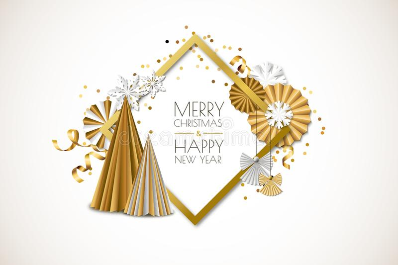 Merry Christmas, Happy New Year greeting card. Vector frame with golden paper stars, christmas tree, angels, snowflakes royalty free illustration