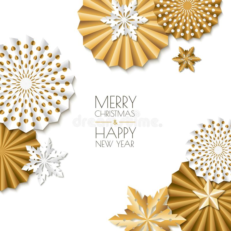 Merry Christmas, Happy New Year greeting card. Vector golden paper stars and snowflakes. Abstract white background. vector illustration