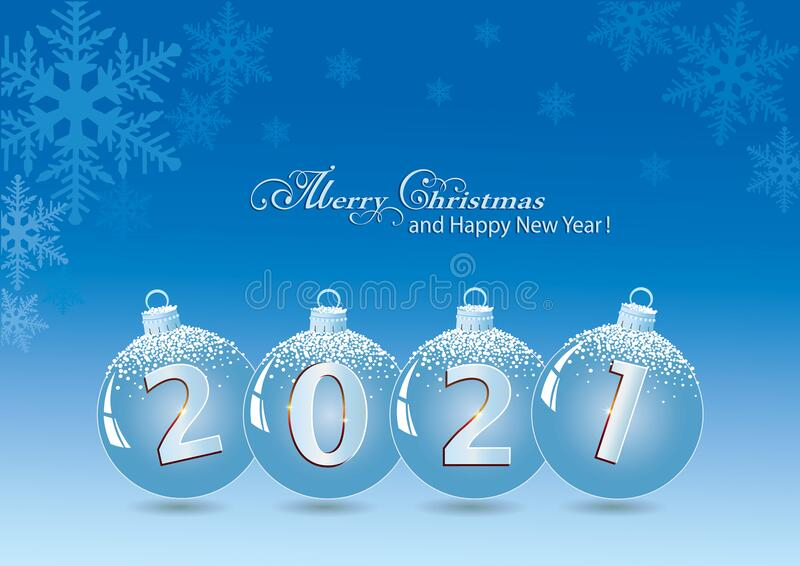 Merry Christmas And Happy New Year 2021 Greeting Card Vector Illustration Stock Vector Illustration Of Party Gift 196530938