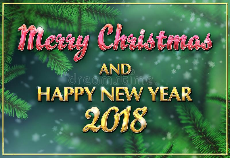 Download Merry Christmas And Happy New Year 2018 Stock Illustration - Illustration of arbutus, branches: 101257092