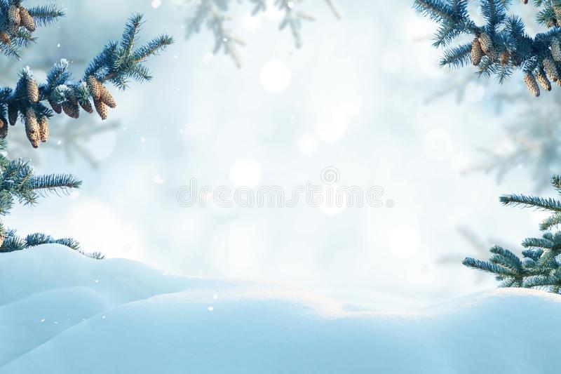 Merry Christmas and happy new year greeting card. Winter landscape with snow . Christmas background with fir tree branch and con. Es royalty free stock photo