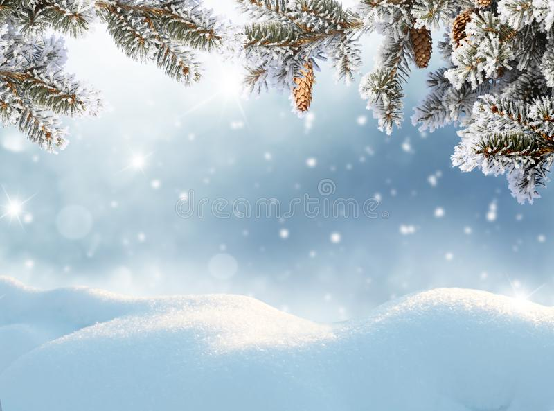 Merry Christmas and happy new year greeting card. Winter landscape with snow . royalty free stock photography