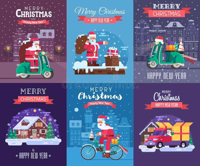 Christmas Cards Set with Santa Delivering. Merry Christmas and Happy New Year greeting cards set with different europe winter holidays backgrounds. Snow house vector illustration