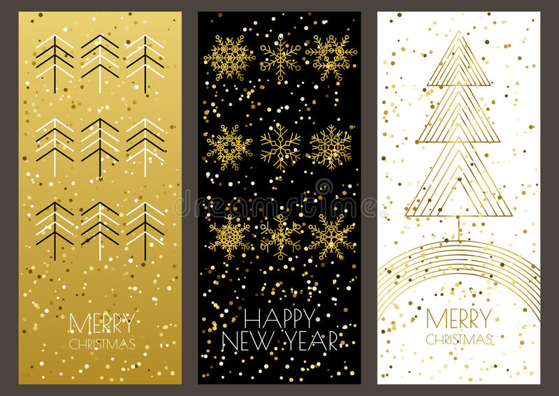 Merry Christmas or Happy New Year greeting cards set vector illustration
