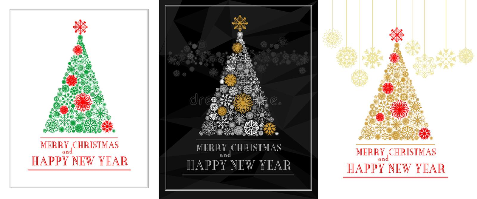 Merry Christmas and Happy New Year greeting cards with Christmas tree in snowflakes royalty free illustration