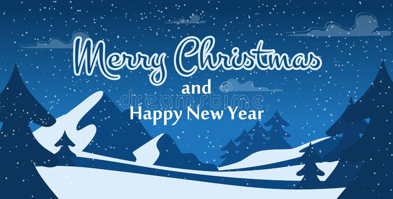 Merry Christmas and Happy New Year Greeting Poster stock illustration