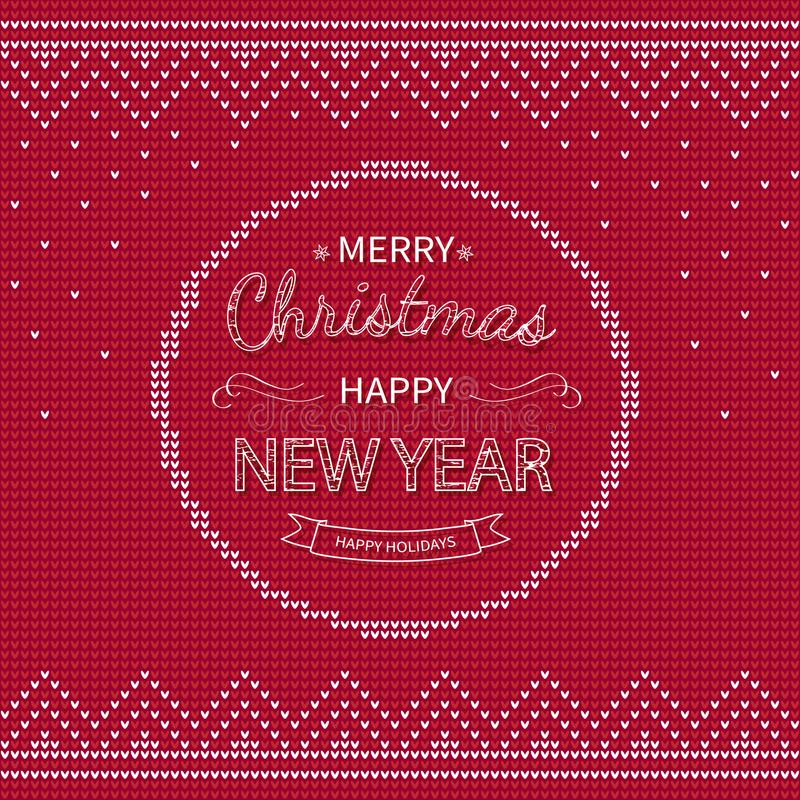 Merry Christmas and Happy New Year Greeting red knitted Background. Xmas logo lettering in a circle with borders. stock illustration