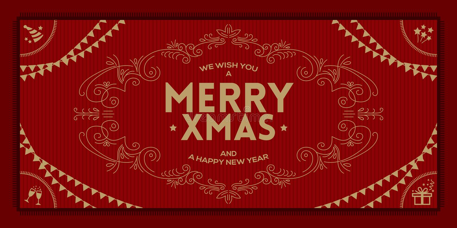 Merry Christmas and a happy new year greeting vintage frame stock illustration