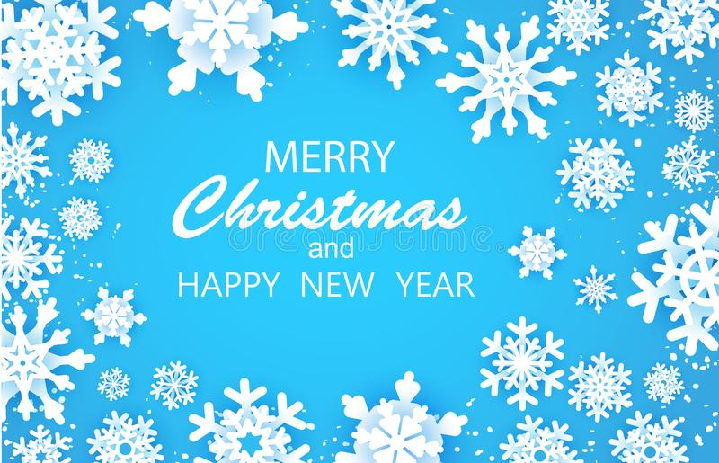 Merry Christmas Happy and New Year Greetings card. White snow flake. . Winter snowflakes background. Space for text. Holidays. Blue background. Vector eps 10 vector illustration