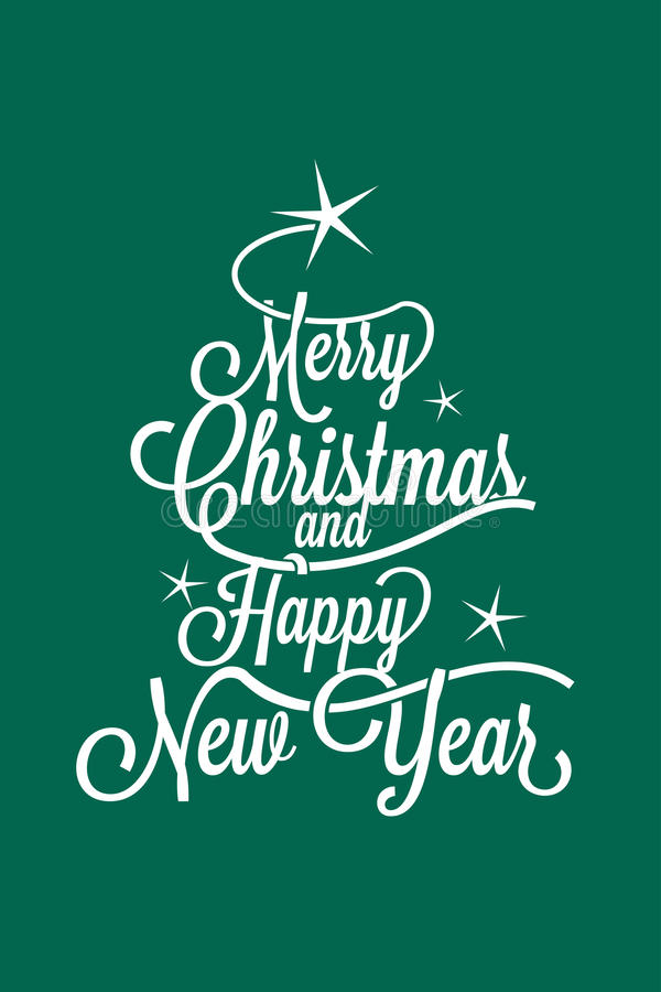Merry Christmas and Happy New Year greetings postcard royalty free stock photo