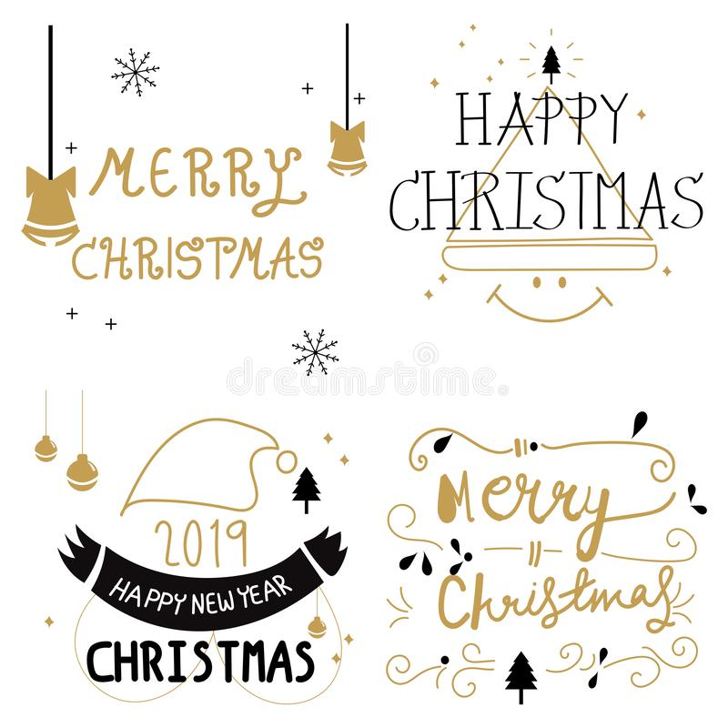 Merry Christmas. Happy New Year, 2019- 2020. Hand drawing doodle  illustration and typography set Vector line art logo,  lettering stock illustration