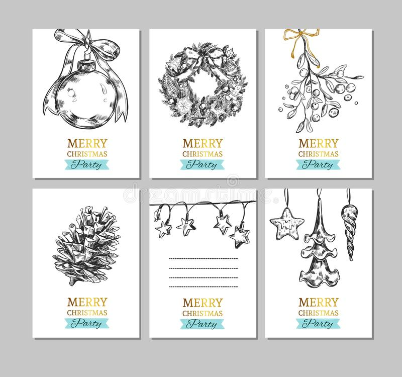 Merry Christmas and Happy New Year hand drawn labels, card, banners. Christmas ball, Fir-tree cone, Mistletoe, Frozen Star, vector illustration