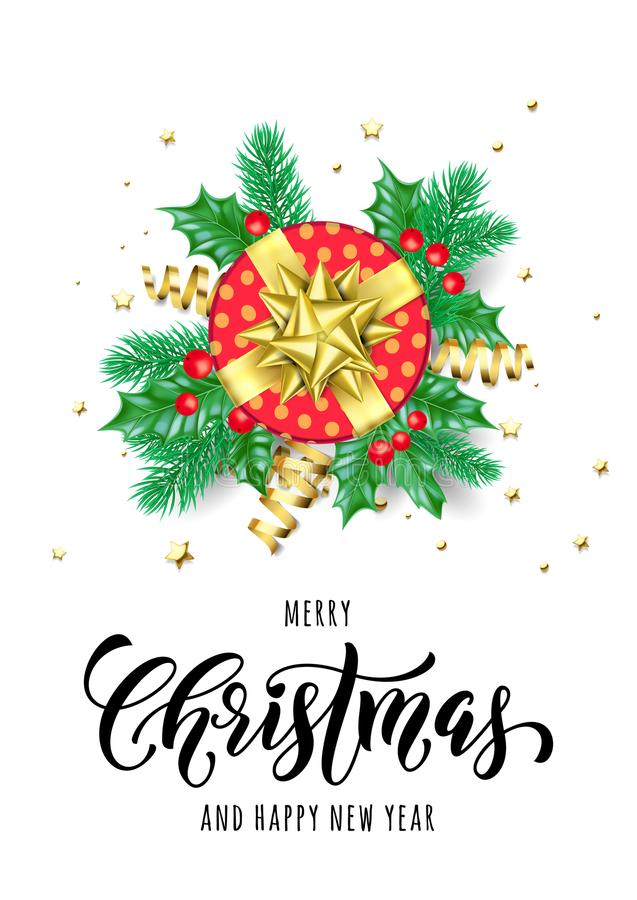 Merry Christmas and Happy New Year hand drawn quote calligraphy for holiday greeting card background template. Vector Christmas tr stock illustration