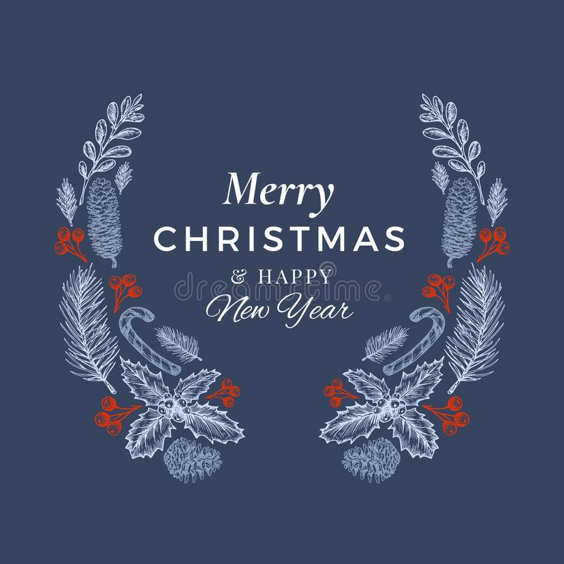 Merry Christmas and Happy New Year Hand Drawn Sketch Wreath, Banner or Card Template. Abstract Holiday Vector Label with. Retro Typography. Blue and Red on Dark vector illustration