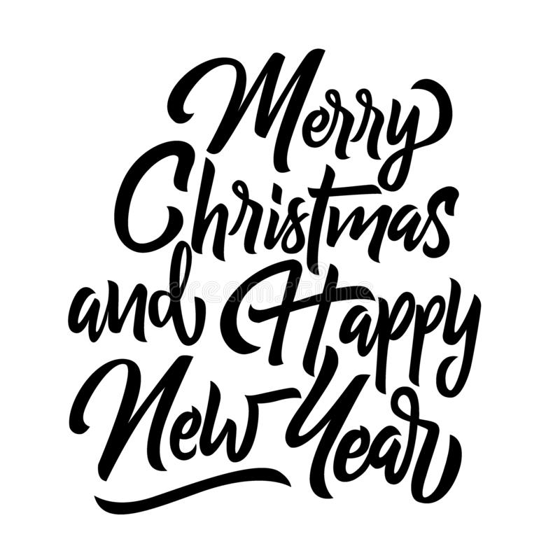 Merry Christmas and happy new year handwriting lettering isolated vector illustration