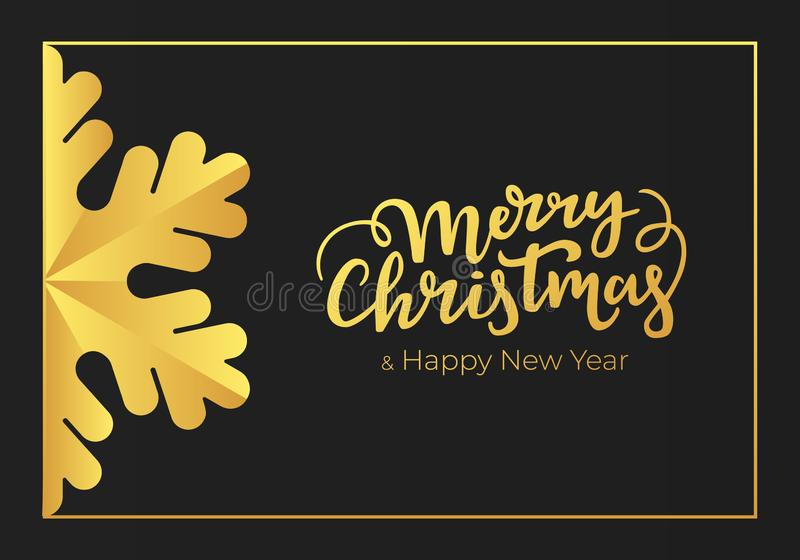 Merry Christmas and Happy New Year handwritten seasonal greetings. Winter holidays postcard made of a premium black paper and stock illustration