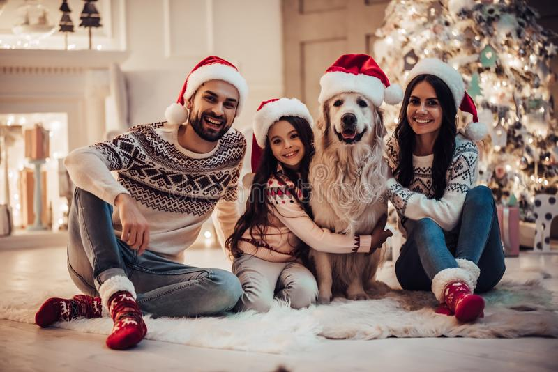 Family with dog on New Year`s Eve. Merry Christmas and Happy New Year! Happy family with dog labrador retriever are waiting for the New Year in Santa Claus hats stock images