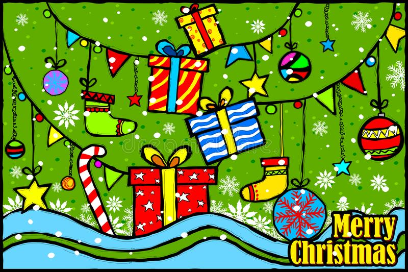 Merry Christmas and Happy New Year Holiday greetings background stock illustration