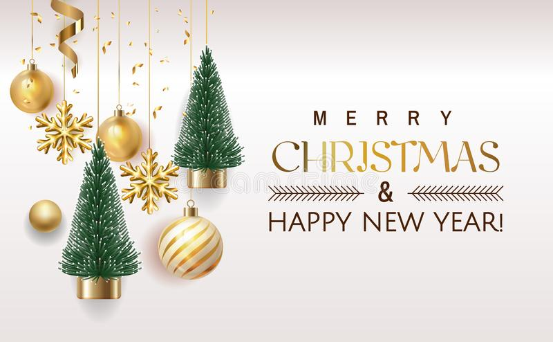Merry Christmas and Happy New Year Holiday white banner illustration. Xmas design with realistic vector 3d objects vector illustration