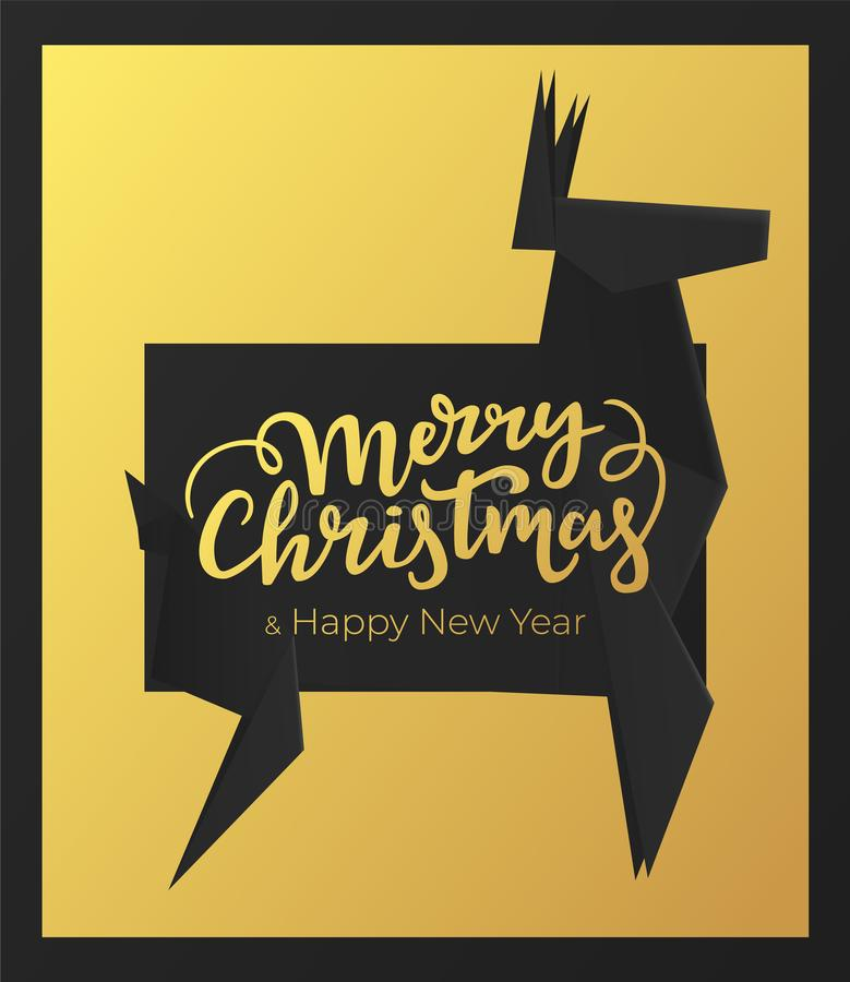 Merry Christmas and Happy New Year holidays card design. Winter postcard with black premium paper frame and background of gold foi vector illustration