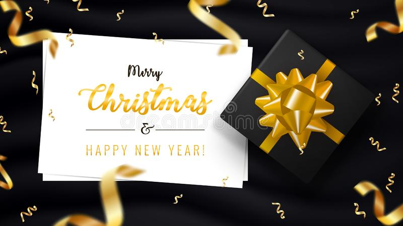 Merry Christmas and Happy New Year horizontal banner. Holiday background with bokeh effect, gold ribbons and gift box vector illustration
