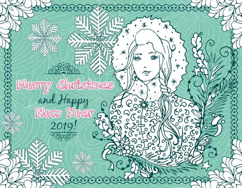 Merry Christmas and Happy New Year 2019 Horizontal Postcard with Hand Drawn Doodlese royalty free illustration