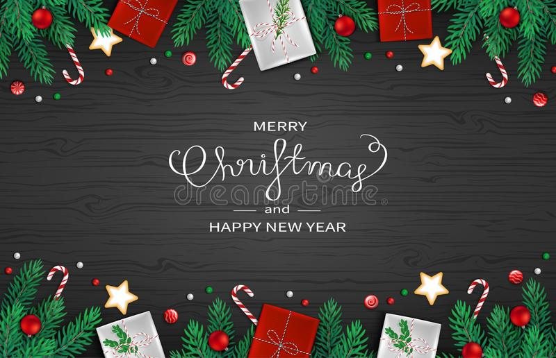 Merry Christmas and Happy New Year horizontal Web Banner Template. Festive Decoration with fir branches, gifts, candy cane stock illustration