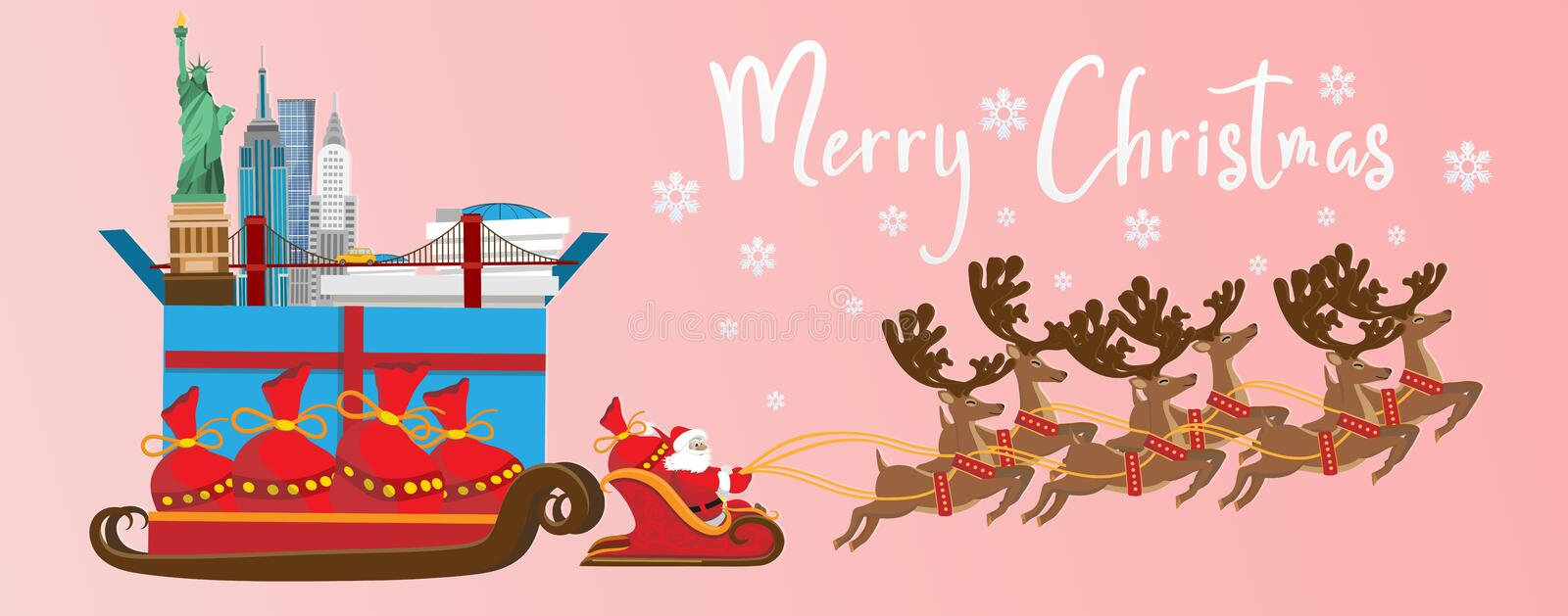 Merry Christmas and Happy New Year. Illustration of Santa Claus royalty free illustration