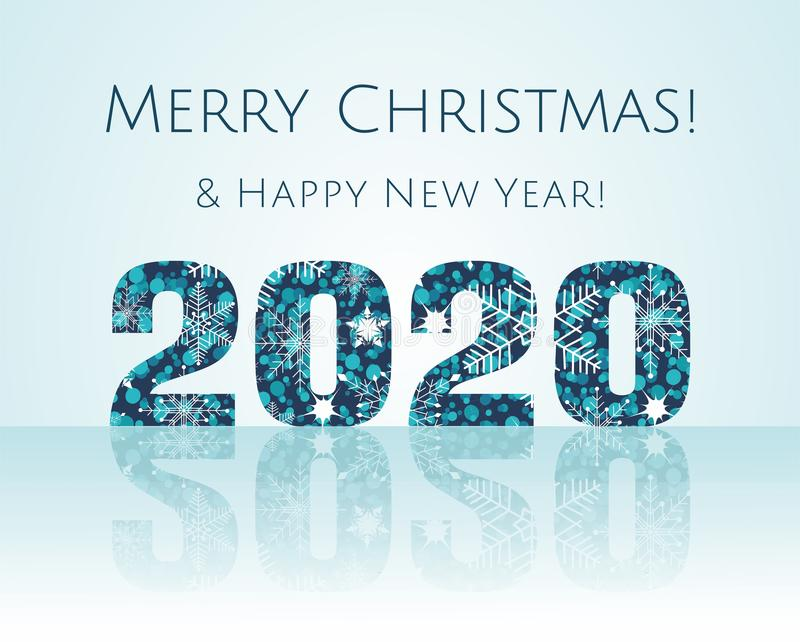 Merry Christmas and Happy New Year 2020 Illustration. vector illustration