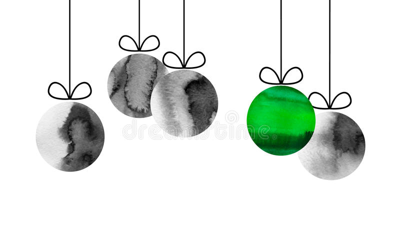 Merry Christmas and happy new year illustration. Vector 10 eps black ink and green poster. Tree toys isolated on white vector illustration