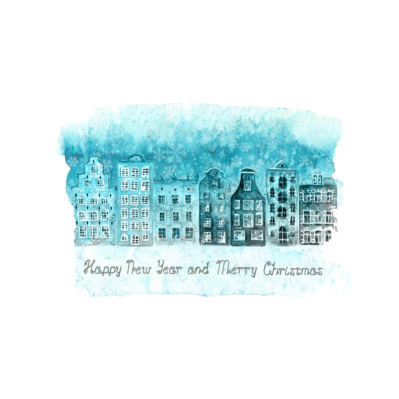 Merry Christmas and Happy New Year illustration with winter watercolor old european houses, snow on blue teal stain. Merry Christmas and Happy New Year vintage stock illustration