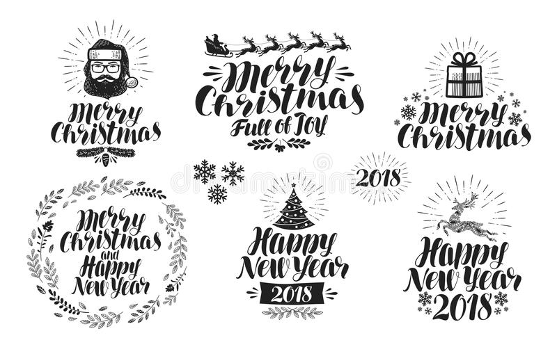 Merry Christmas or Happy New Year, label set. Xmas icon or logo. Typographic design, lettering, calligraphy vector royalty free illustration