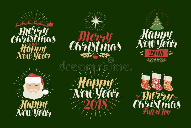 Merry Christmas, Happy New Year, label set. Xmas, yuletide, holiday icon or logo. Lettering, calligraphy vector stock illustration