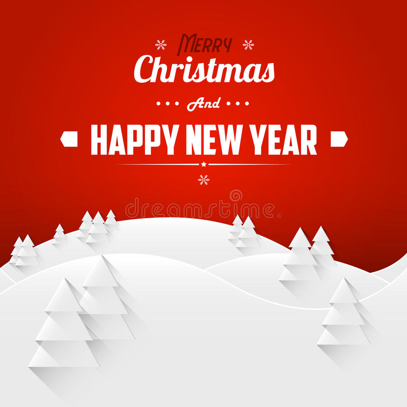 Merry Christmas and Happy New Year Landscape Greeting Card. Retro Font. vector illustration