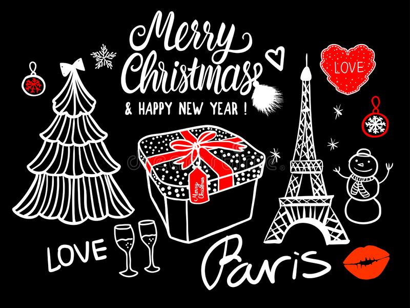 Merry Christmas and Happy New Year Lettering Card fashion sketch celebration gift box, tree, Paris Eiffel Tower. White royalty free illustration