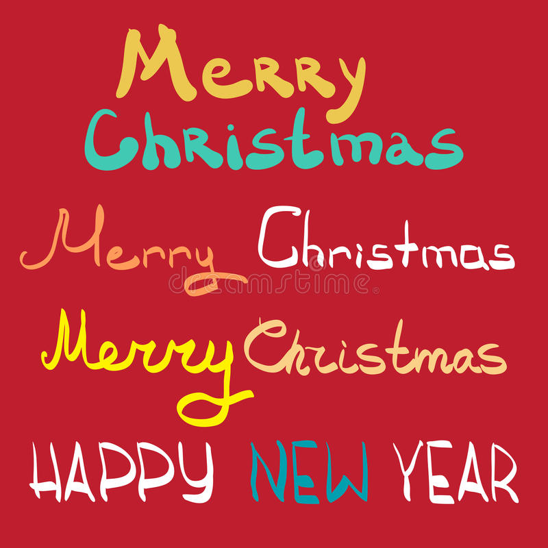 Merry christmas and happy new year lettering design set. stock illustration