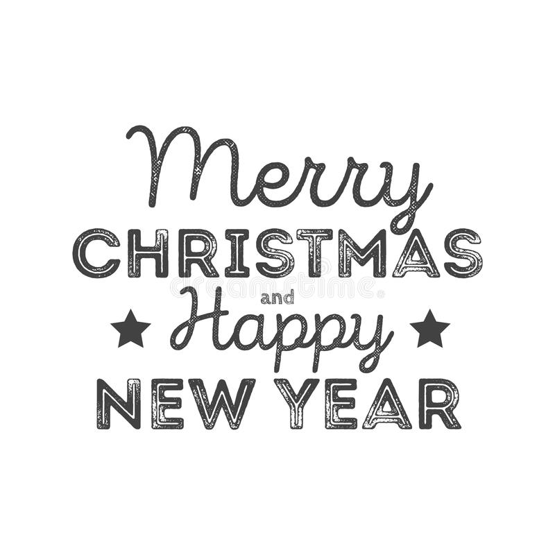 Merry Christmas and Happy New Year - lettering holiday calligraphy phrase isolated on the background. Fun brush ink typography for stock illustration
