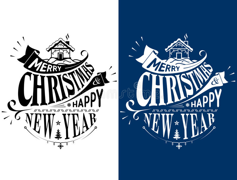 Download Merry Christmas Happy New Year Lettering Logo Design Stock Vector