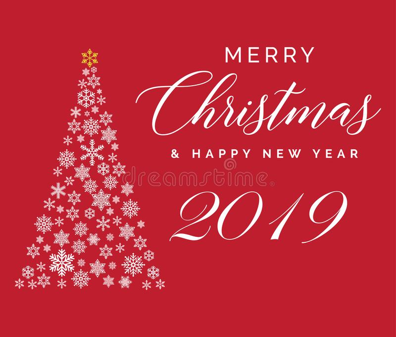 Merry Christmas and Happy New Year 2019 lettering template. Greeting card or invitation. Winter holidays related typograph royalty free illustration