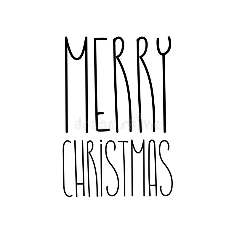 Merry Christmas and happy new year lettering text template vector illustration