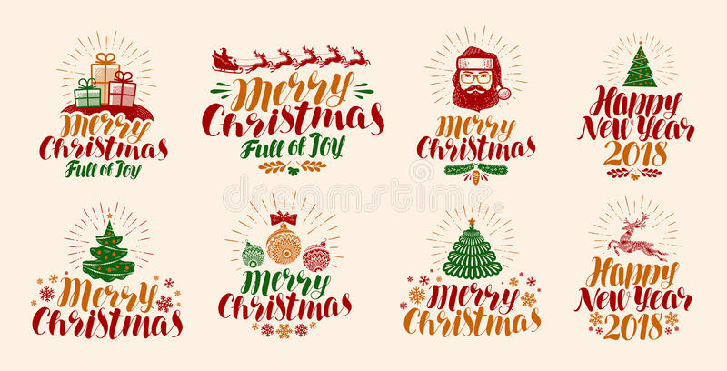 Merry Christmas and Happy New Year, lettering. Xmas, yuletide, holiday label set or icons. Calligraphy vector vector illustration