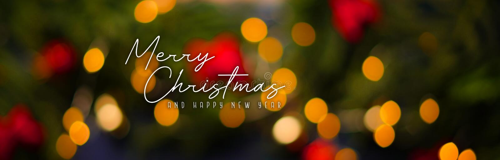 Merry Christmas and Happy New year. Christmas Light Bokeh Background Banner stock photography