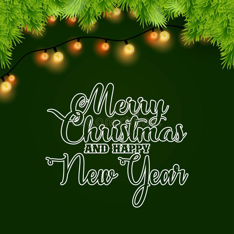 Merry Christmas and Happy New year Light and Bokeh Background. Vector EPS10 Abstract Template background stock illustration
