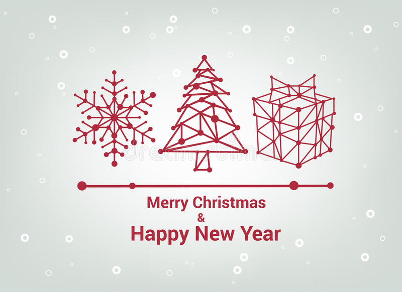 50 Beautiful Merry Christmas And Happy New Year Pictures: Merry Christmas And Happy New Year, Line Minimalist Style