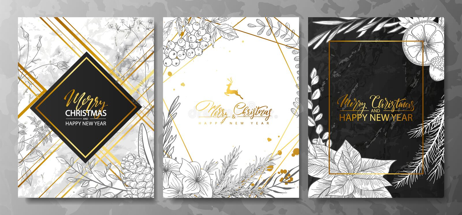 2019 Merry Christmas and Happy New Year Luxury cards collection with marble texture,Golden geometric shape and hand-drawn winter p vector illustration