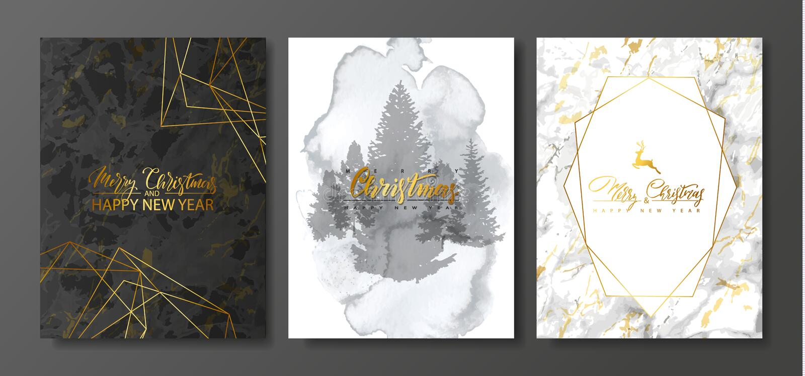 2019 Merry Christmas and Happy New Year Luxury cards collection with marble and watercolor texture and Golden geometric shape .Vec vector illustration
