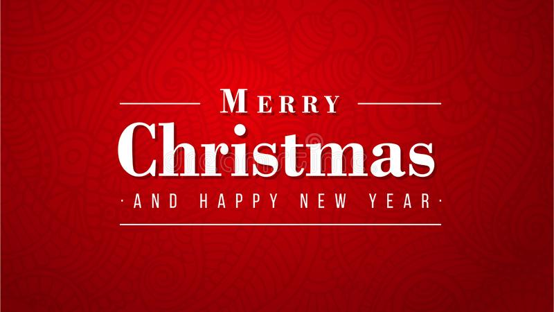 Merry Christmas and happy new year luxury design on red background stock illustration