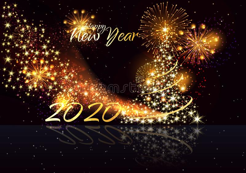 Merry christmas and happy new year. Happy New Year 2020 - Marry Christmas background with gold 2020 - Vector stock illustration